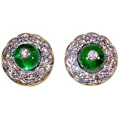 Emerald Diamond Gold Platinum Earrings