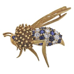 Large Diamond Sapphire Gold Wasp Bee Insect Brooch Pin