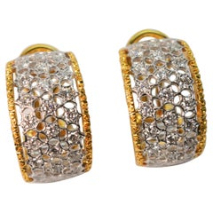 Diamond 18K White Gold Filigree Ribbon Hoop Earrings w 18K Yellow Gold Trim