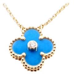 Van Cleef & Arpels Diamond Celestial Blue Sèvres Porcelain Alhambra Necklace