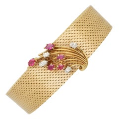 Vintage Ruby and Diamond Woven Bracelet Set in 18k Yellow Gold