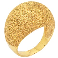 Textured Dome Ring Vintage 18k Yellow Gold Wide Cigar Band Florentine Finish