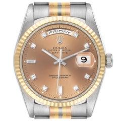 Rolex President Day-Date Tridor White Yellow Rose Gold Diamond Watch 18239