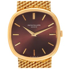 Patek Philippe Ellipse 18k Yellow Gold Reddish Brown Dial Watch 3844 Papers