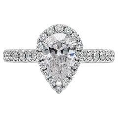 GIA Certified 1.04 Carat Pear Shape Diamond Halo Engagement Ring