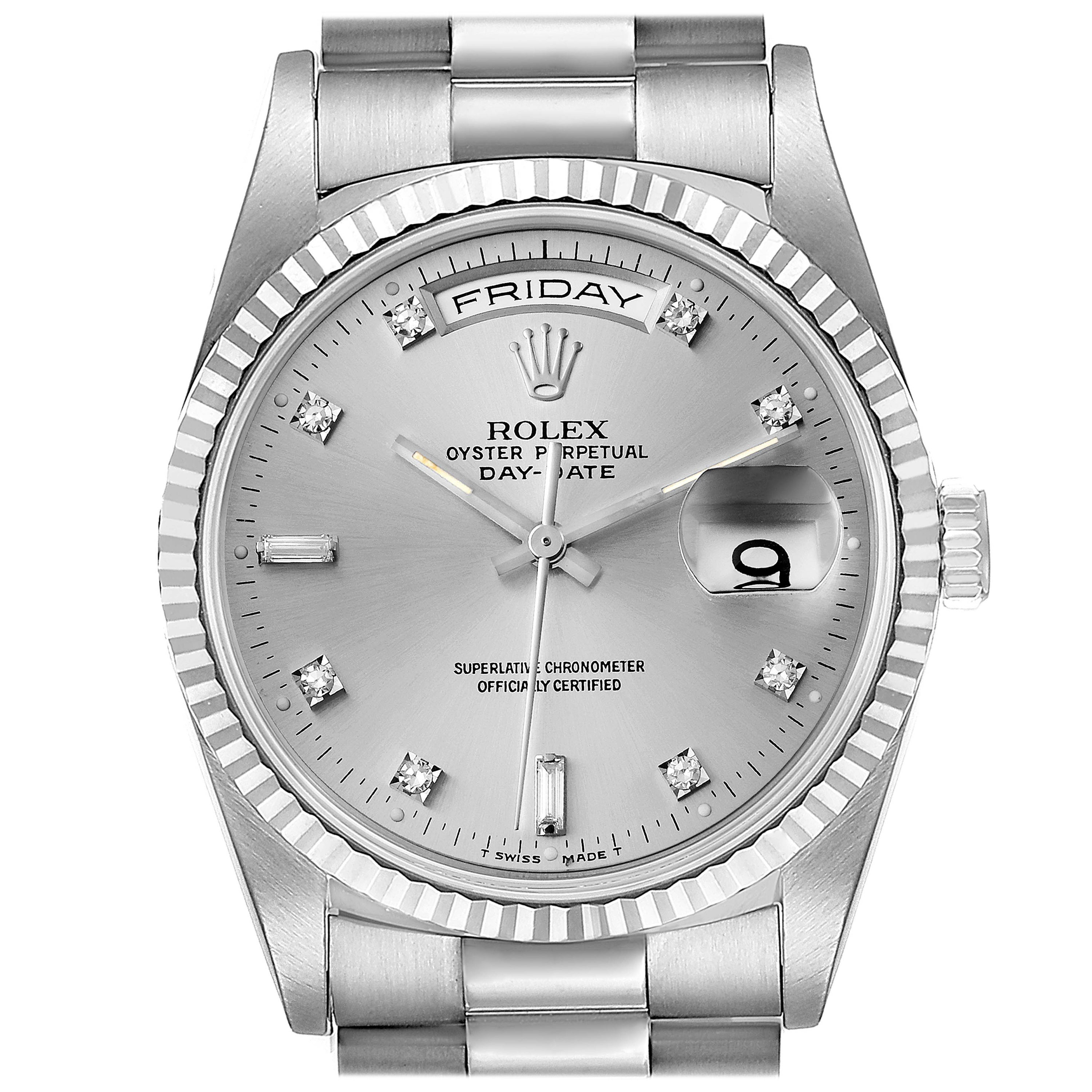 Rolex President Day-Date White Gold Diamond Dial Mens Watch 118239