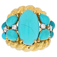 David Webb 18K Yellow Gold Oval Turquoise and Diamond Scute Style Ring