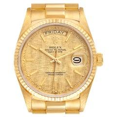 Rolex President Day-Date Yellow Gold Linen Dial Mens Watch 18038