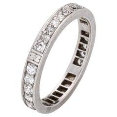 Vintage Art Deco Diamond Eternity Ring Platinum Wedding Band Flowers