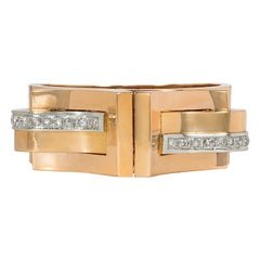 Retro French Rose Gold Bangle Bracelet with Detachable Diamond-Set Clip Brooches