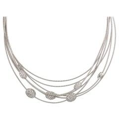 Marco Bicego White Gold Multi Strand Diamond Necklace