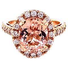 4.41 Carat Morganite Diamond 14 Karat Rose Engagement Ring
