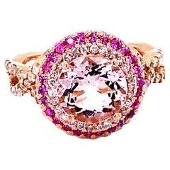 3.30 Carat Morganite Diamond 14 Karat Rose Gold Cocktail Ring