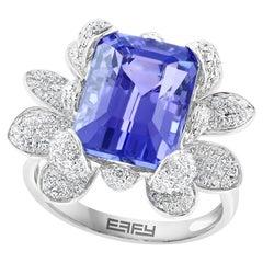Effy 14 Karat White Gold Tanzanite & Diamond Ring