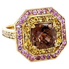 4.03 Carat Tourmaline Sapphire and Diamond 18K Yellow Gold Ring