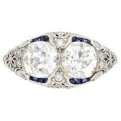 1930's Art Deco Vintage 1.50 Carat Old Mine Cut Double Diamond and Platinum Ring