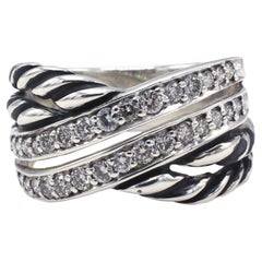 David Yurman Sterling Silver & Diamond Crossover Band Ring