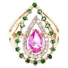 1.52 Carat Pink Sapphire Tsavorite Diamond 14 Karat Yellow Gold Cocktail Ring