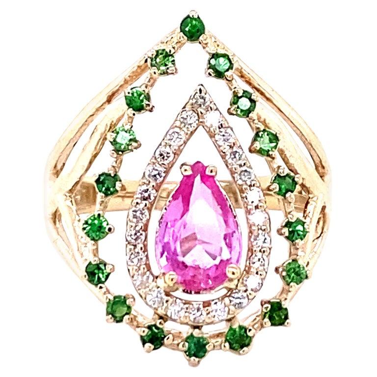 1.52 Carat Pink Sapphire Tsavorite Diamond 14 Karat Yellow Gold Cocktail Ring  For Sale