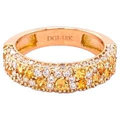 1.42 Carat Yellow Sapphire and White Diamond 14 Karat Rose Gold Band