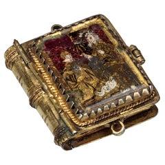Antique Gilded Silver Renaissance Reliquary Pendant in Book Form