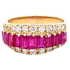 2.35 Carat Ruby Diamond 14K Yellow Gold Band