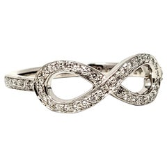 Tiffany & Co. Round Brilliant Pave Diamond Infinity Symbol Band Ring in Platinum