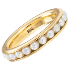 Cultured Pearl Yellow Gold Eternity Ring Size 6