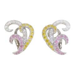 Van Cleef & Arpels Multi Color Diamond Earrings 3.18tcw 18k White Gold