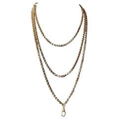 Antique Georgian Pinchbeck Longuard Chain, Muff Chain Necklace