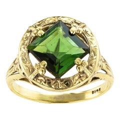 Art Nouveau Green Tourmaline Yellow Gold Ring