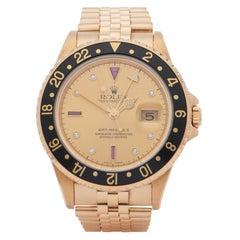 Rolex GMT-Master II 0 16718 Men Yellow Gold Serti Dial Watch
