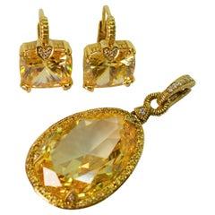 Judith Ripka Citrine w Diamond Yellow Sapphire Enhancer w Matching Earrings