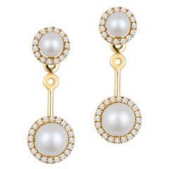 14k Yellow Gold Convertible Freshwater Pearl Earrings w/ .20ctw Diamond Halo