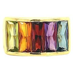 Modern Multicolored Gemstone 18K Gold Ring