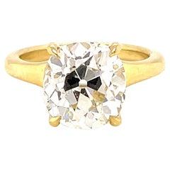 GIA 4.74 Carat Old Mine Diamond 18K Gold Engagement Ring