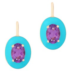 Goshwara Oval Amethyst with Turquoise Enamel and Lever Back Earrings