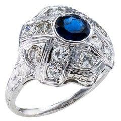 Art Deco Sapphire Diamond White Gold Dome Ring