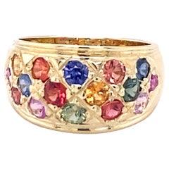 2.12 Carat Multicolored Sapphire 14 Karat Yellow Gold Band