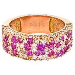 2.10 Carat Sapphire Diamond 18 Karat Rose Gold Band