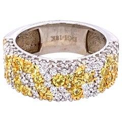 2.18 Carat Yellow Sapphire Diamond 18 Karat White Gold Band