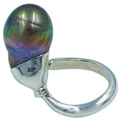 Sterling Silver Black Tahitian Baroque Pearl Adjustable Solitaire Ring