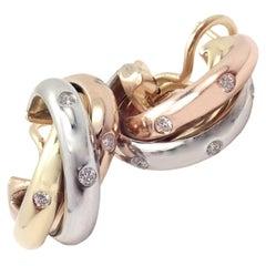 Cartier Trinity Diamond Hoop Tri-Color Gold Earrings