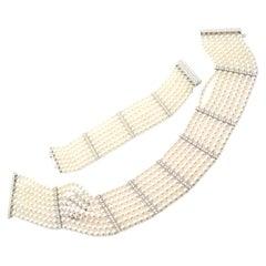 Mikimoto Diamond Eight Strand Pearl White Gold Bracelet and Necklace Set