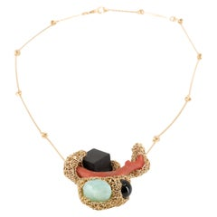 Artist Statement Coral & Multi-Stone Cocktail Necklace in 14 Kt Gold F One-Off