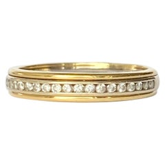 Vintage Diamond and 18 Carat White and Yellow Gold Half Eternity Band