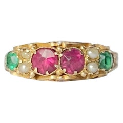 Victorian Ruby and Green Garnet 9 Carat Gold Ring