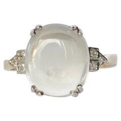 Art Deco Diamond and Moonstone 9 Carat Gold and Platinum Ring