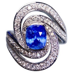 2.15 Ct Vivid Blue Sapphire and Diamond Ring in 18k White Gold