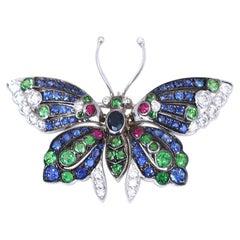 Butterfly Pendant Brooch Sapphires Emeralds Rubies Diamonds, 1930